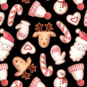 christmas gingerbreads on a black background