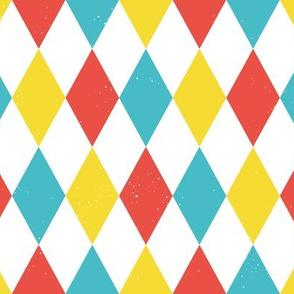 Diamond grid - blue yellow red