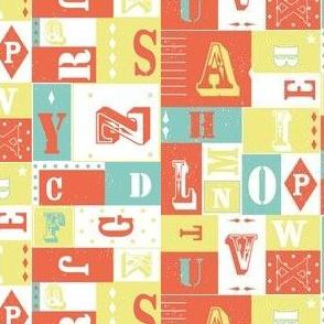 Alphabet letters - orange yellow mint