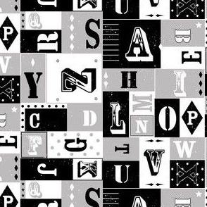 Alphabet letters - black grey white
