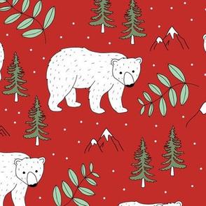 Seasonal Polar bear mommy and baby cub Scandinavian winter wonderland forest christmas kids design red green mint