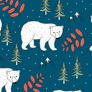 Seasonal Polar bear mommy and baby cub Scandinavian winter wonderland forest christmas kids design navy blue green red