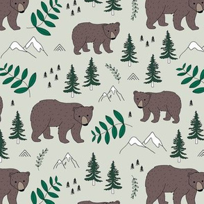 Sweet woodland grizzly bear mountains and pine tree forest nursery neutral green
