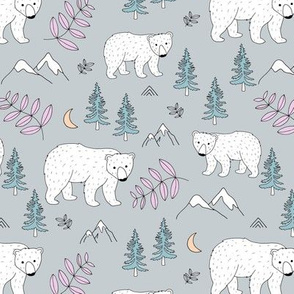 Sweet Scandinavian arctic polar bear ice berg and mountains moon light and trees nursery gray mint pink
