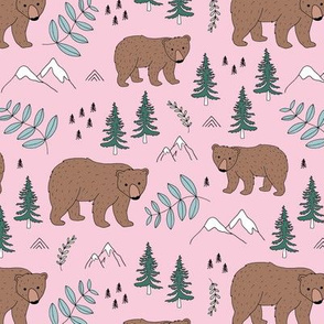 Sweet woodland grizzly bear mountains and pine tree forest nursery pink green girls