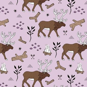 Sweet Scandinavian moose mountain camping adventures wood leaves and camp fire kids wild animals design lilac girls