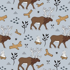 Sweet Scandinavian moose mountain camping adventures wood leaves and camp fire kids wild animals design soft blue gray boys