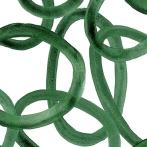 Extra large Circles half drop Emerald on White