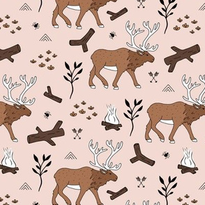Sweet Scandinavian moose mountain camping adventures wood leaves and camp fire kids wild animals design soft beige sand brown