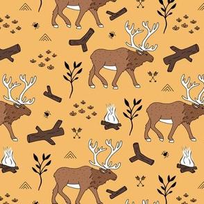 Sweet Scandinavian moose mountain camping adventures wood leaves and camp fire kids wild animals design honey yellow ochre