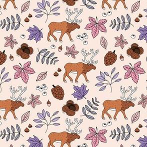 Little autumn woodland moose maple leaves and oak leaf forest kids design soft beige sand green lilac pink girls