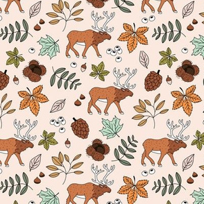 Little autumn woodland moose maple leaves and oak leaf forest kids design soft beige sand green burnt orange
