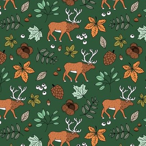 Little autumn woodland moose maple leaves and oak leaf forest kids design green rust brown orange