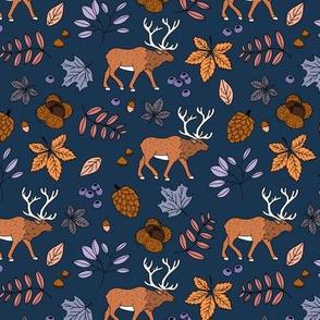 Little autumn woodland moose maple leaves and oak leaf forest kids design navy lilac girls