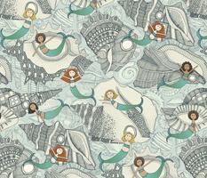 little mermaids big shells blue