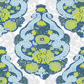 Paisleys silhouettes blue gray and white
