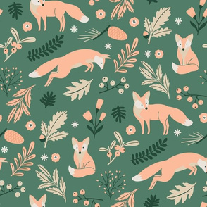 Woodland Foxes Green LARGE