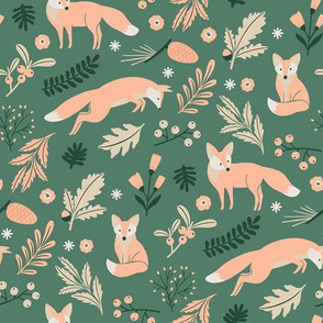 Woodland Foxes Green SMALL
