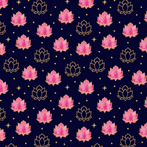 Diwali Lotus Night - pink waterlilies on navy blue with faux gold stars