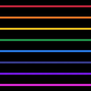 Narrow rainbow stripes on black horizontal (large)