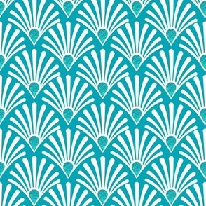 seashell teal art deco white with turquoise teal