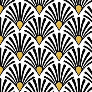 Seashell art deco black on white with gold accents