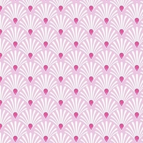 pink art deco shell fan with hot pink