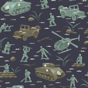 Little Green Army Men Midnight Blue