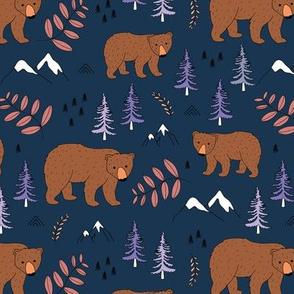 Sweet Scandinavian arctic polar bear ice berg and mountains moon light and trees nursery navy blue rust brown orange