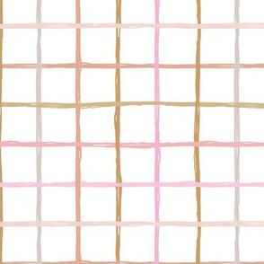 Abstract geometric duo tone checkered stripe trend pattern grid Scandinavian neutral nursery pink peach burnt sienna pastel girls
