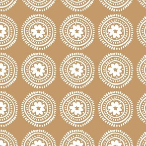 Little boho flower mandala soft spring summer ornamental design baby nursery cinnamon brown