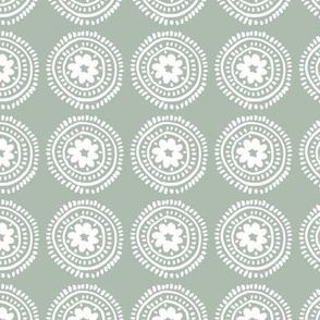 Little boho flower mandala soft spring summer ornamental design baby nursery sage green