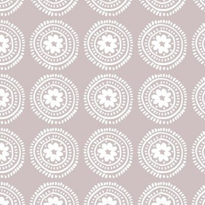 Little boho flower mandala soft spring summer ornamental design baby nursery pastel mauve old rose girls