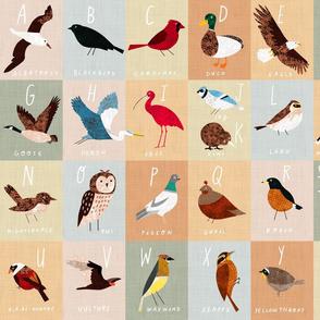 """An Alphabet of Birds 18"""" x 21"""" block - Fat Quarter"""