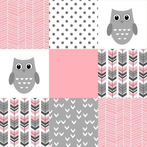 Grey Pink Owl Patchwork