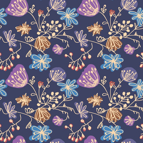 Floral, blooming, floral design, summer flowers, flowers pattern, dress pattern, summer dress, wild flowers, blooming flowers, blue, wild plants, blooming plants, hand drawing