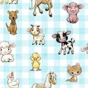 farm animals blue gingham