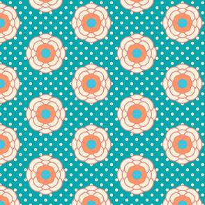 vintage polka dots, boho flowers, summer flowers, light yellow roses flower pattern, bright pattern, summer pattern, rustic style, boho spring, green polka dots, floral pattern, vintage flowers