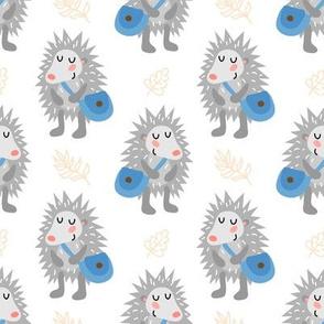 Cute hedgehog - blue bag