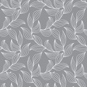 Elegant leaves - gray
