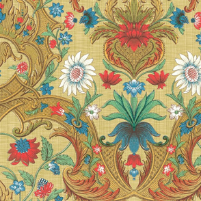 Parrot Damask Redux ~ Trianon Cream Linen Luxe