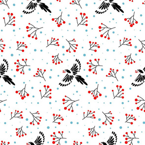 Black Magpie birds and red berries, winter pattern, woodland life, snowy forest white background