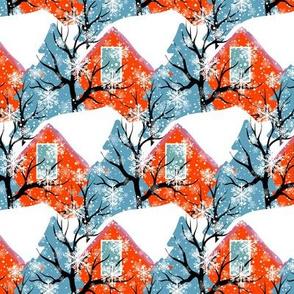 winter pattern, christmas decor, Winter village, winter countryside, vintage houses, snowy village, house roofs, snowy roofs, houses, winter, orange blue, village christmas, countryside.
