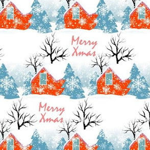 merry christmas, countryside, vintage houses, rustic, xmas, house roofs, winter holidays, small town, christmas country, christmas eve, orange white, winter pattern, christmas holidays