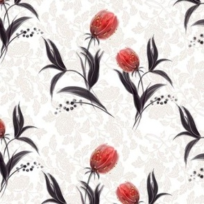 Tulips, red tulip, flowers, flower pattern, red, tulip pattern, tulip flower, red flowers, gothic tulip, gothic pattern, gothic flower, tulip flowers, tulip.