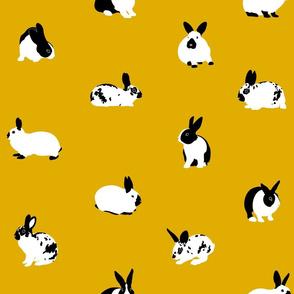 Monochrome Rabbits on Mustard Yellow - medium scale