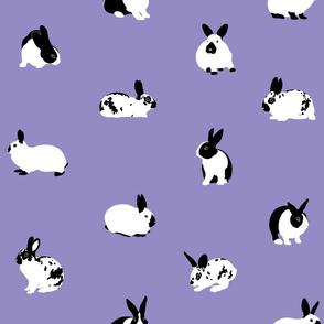 Monochrome Rabbits On Lilac - medium