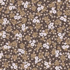 granny chic design, quilt pattern, quilt flowers, brown, roses, rose pattern, rose flowers, flowered granny chic, granny chic pattern, flower design, quilt chintz, flower chintz, granny chic dress