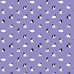 Monochrome Rabbits on Lilac - small