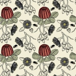 banksia, gum and honey bee on pale background